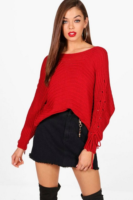 Poppy Lace Up Rib Knitted Jumper