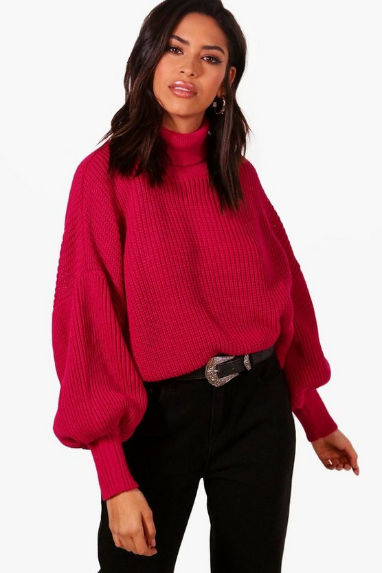 Roll Neck Balloon Sleeve Knitted Jumper