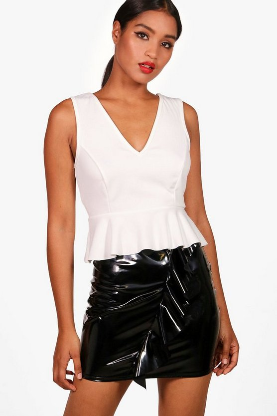 Connie Plunge Peplum Top