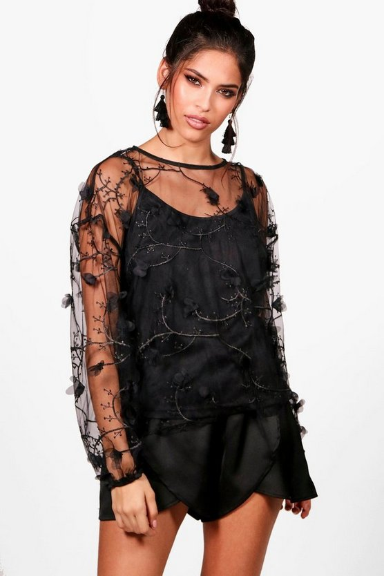 Mesh Embroidered Flower Top