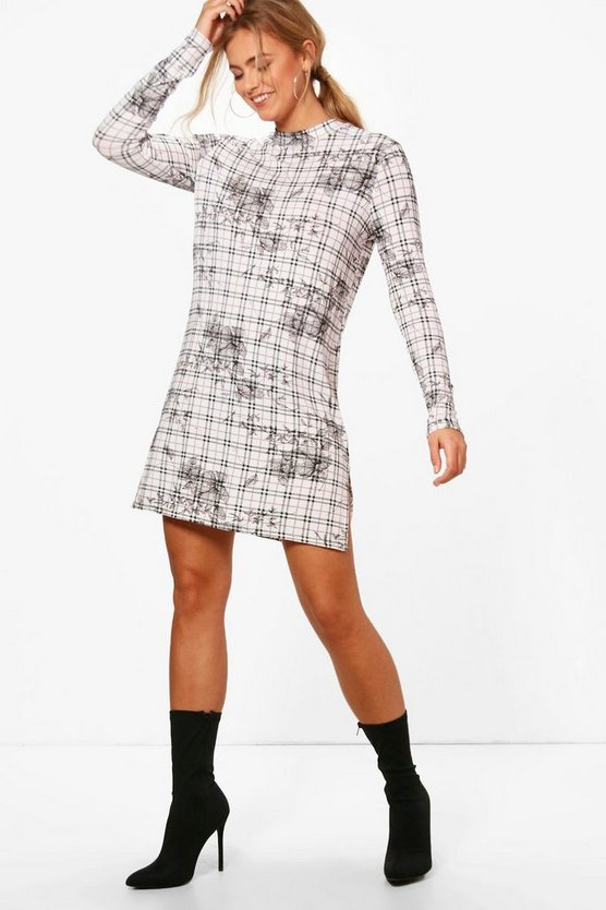 Lauren High Neck Split Front Shift Dress
