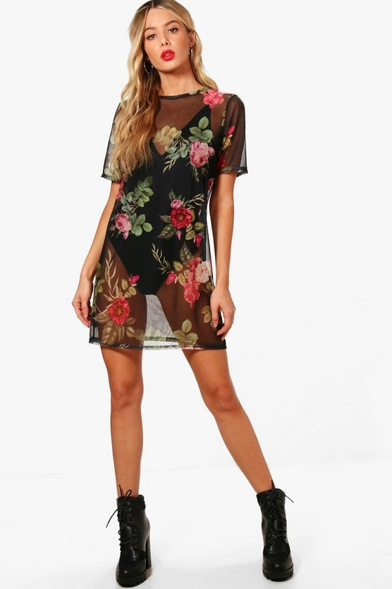 Tiffany Floral Print Mesh T-Shirt Dress