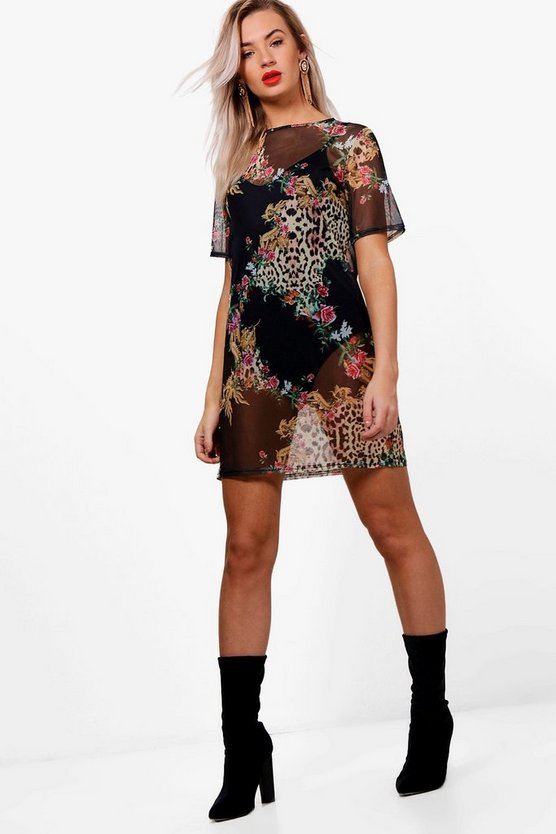 Libby Leopard & Chain Print Mesh T-Shirt Dress