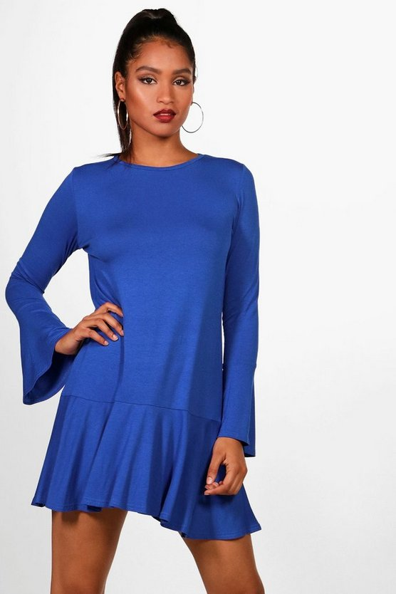 Drop Hem Flute Sleeve Shift Dress