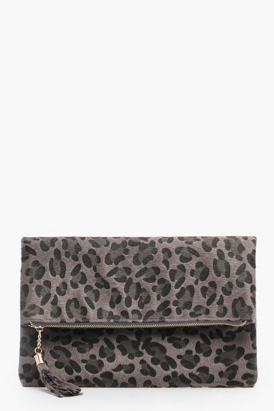 Bolso Clutch de piel de poni leopardo plegable Lilly