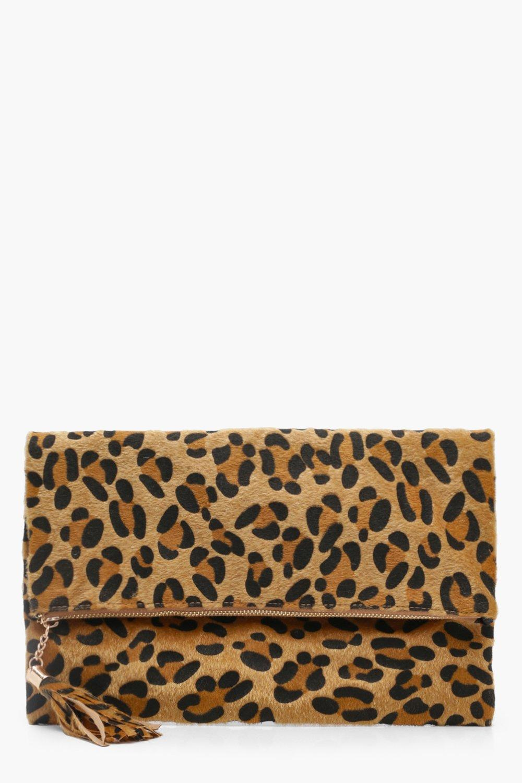 boohoo Womens Pony Leopard Foldover Clutch Bag - Beige - One Size, Beige