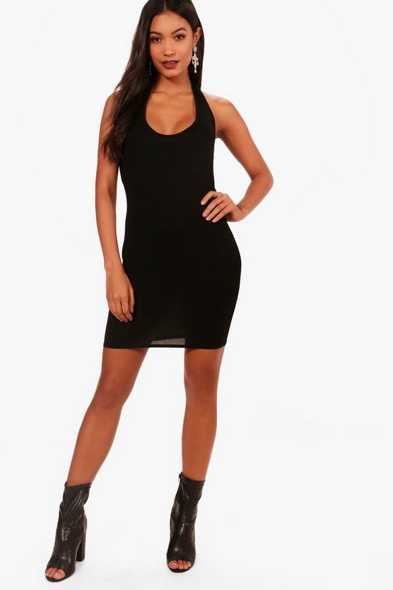 Halterneck Curved Hem Bodycon Dress