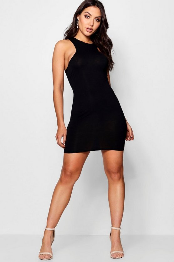 Racer Neck Jersey Bodycon Dress