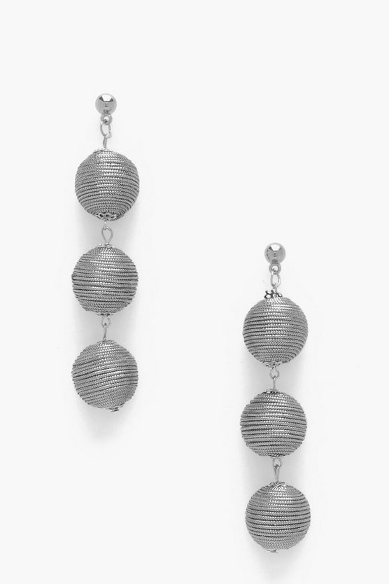 Metallic Triple Ball Drop Earrings
