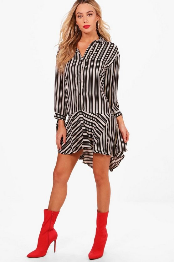 Dipped Hem Stripe Woven Shirt Dress