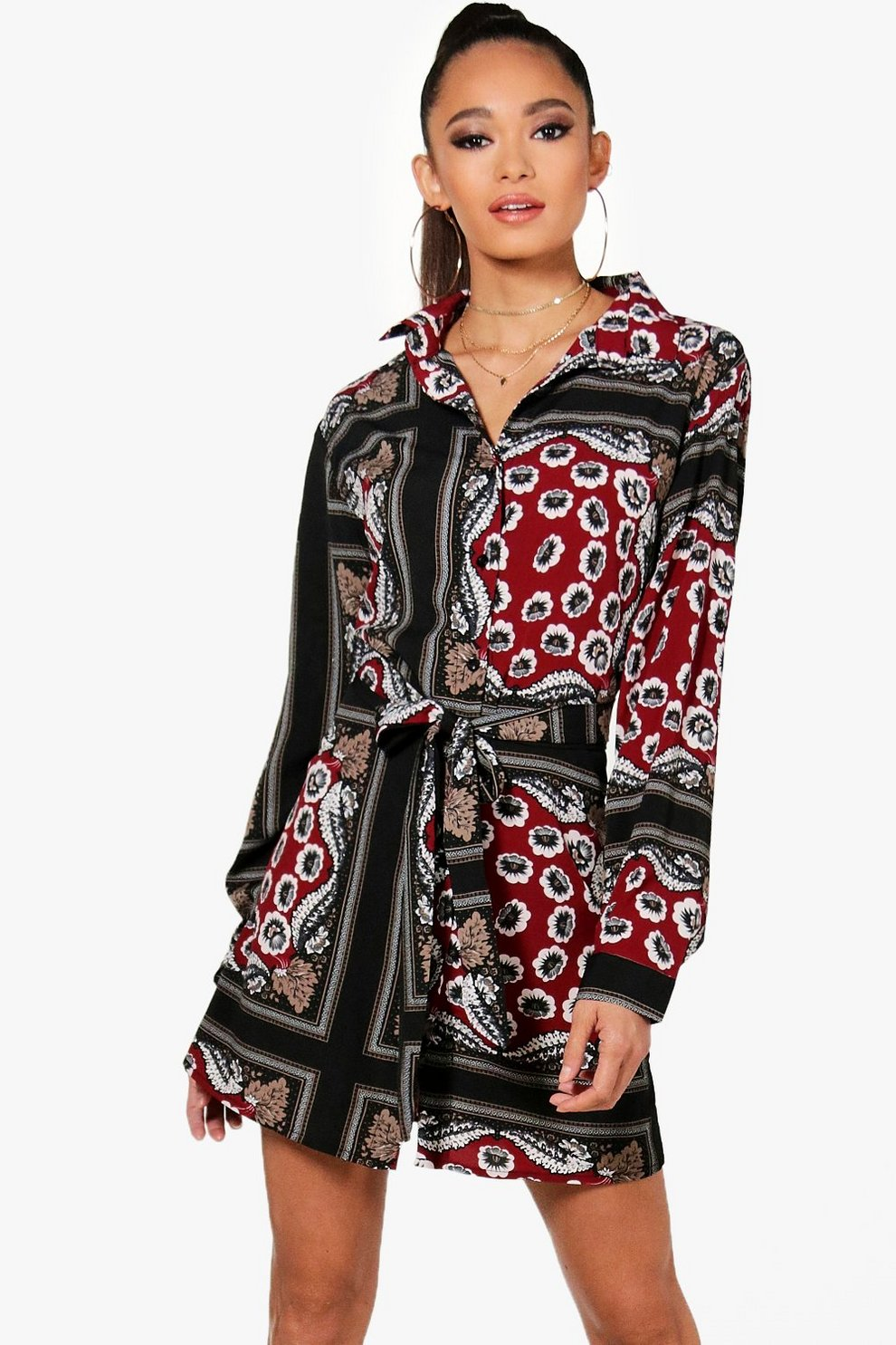 Boohoo Paisley Print Tie Waist Shirt Dress Perfect Cheap Sale Footlocker Finishline Cheapest Cheap Price Countdown Package Online 7Xa3Fo1D