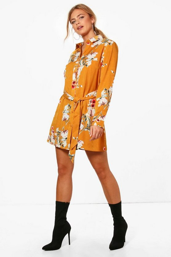 Hannah Floral Print Tie Waist Shirt Dress