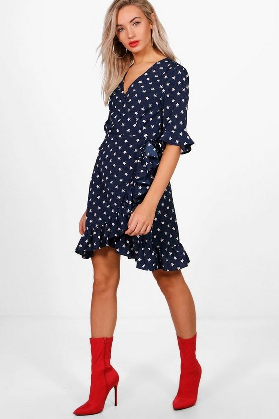 Star Print Woven Wrap Front Tea Dress