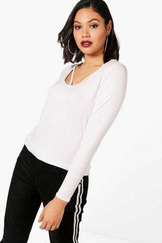 Morgan Strappy Detail Long Sleeve Tee