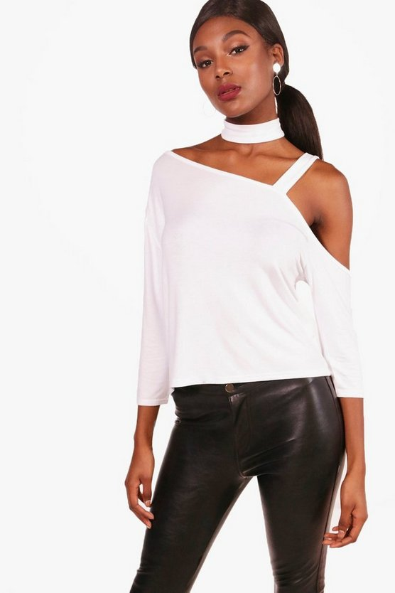 One Shoulder Choker T-Shirt