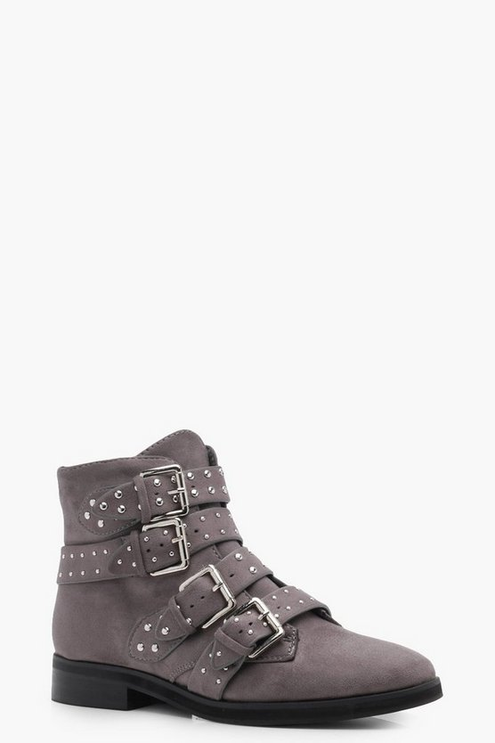 Sara Studded Strap Ankle Boots