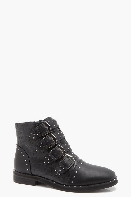 Molly Mixed Material Studded Strap Ankle Boots