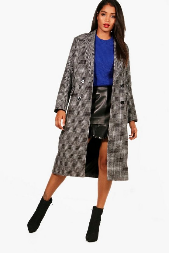 Arabel Maxi Check Double Breasted Wool Look Coat