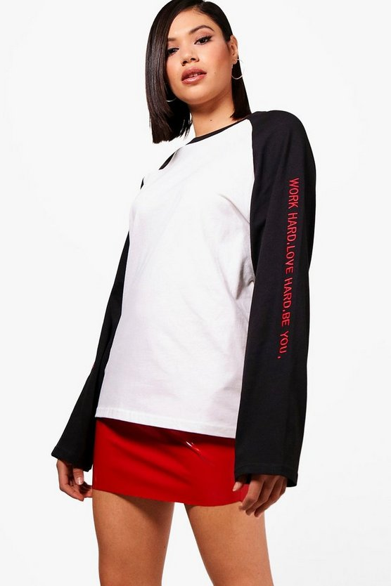 Super Oversized Slogan Sleeve Raglan
