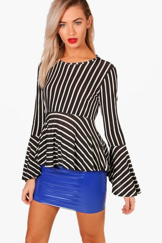 Ciara Stripe Flare Sleeve Peplum Top