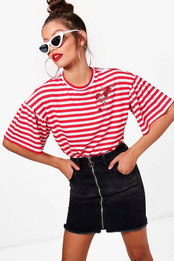 Riley striped Embroidered T-Shirt