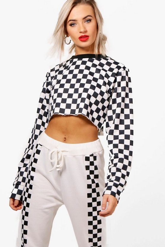 Tia Athleisure Crew Neck Chequered Sweat