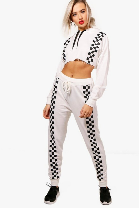 Jasmine Fit Chequered Front Panel Jogger