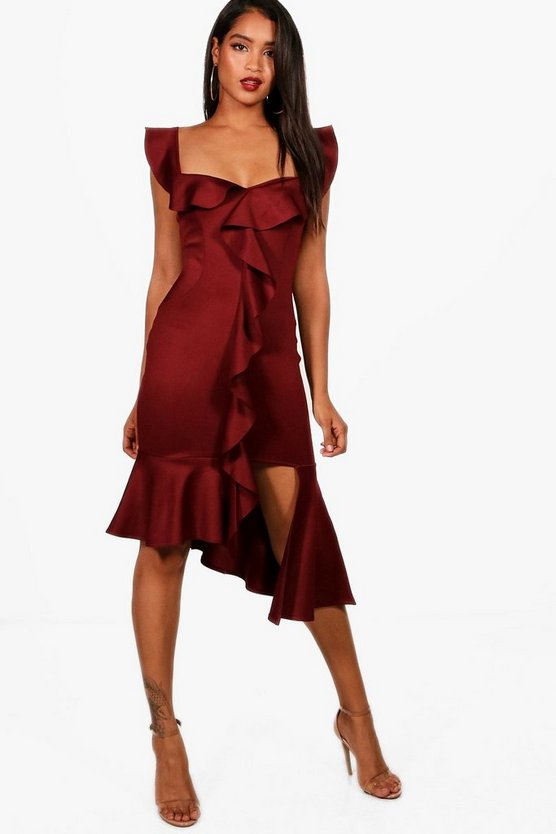 Frill Detail Off the Shoulder Midi Dress