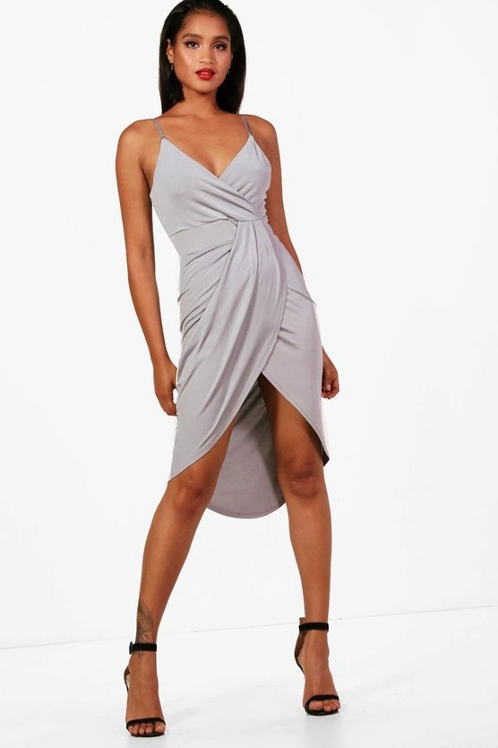 Natalie Plunge Wrap Detail Midi Dress