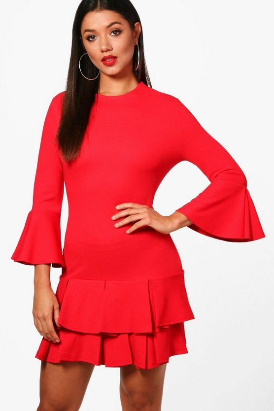 Pleated hem Bodycon Dress