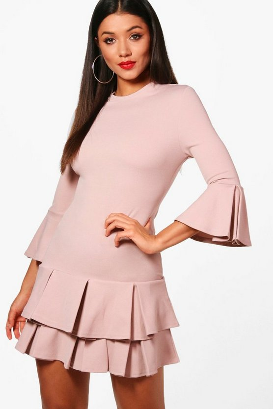 Jessica Pleated hem Bodycon Dress