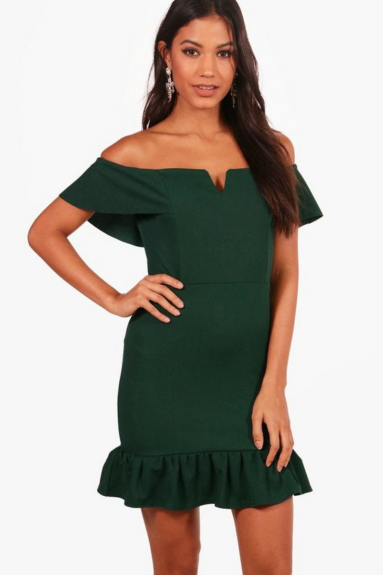 Frill Off the Shoulder Bodycon Dress