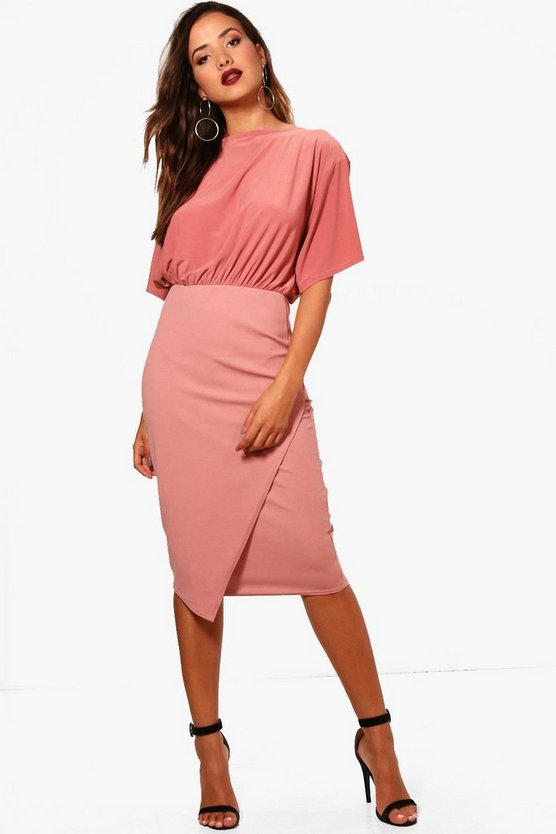 Elouise Batwing Top Wrap Midi Dress