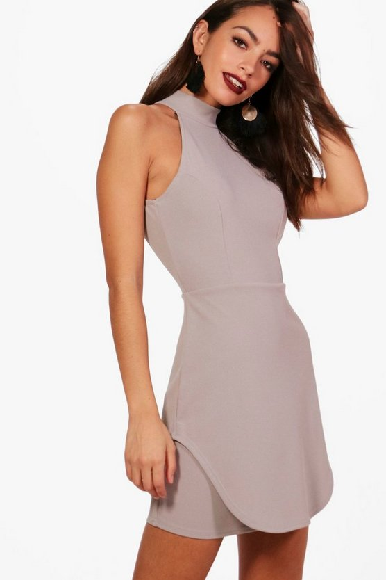 Leni Curved Hem Detail Bodycon Dress