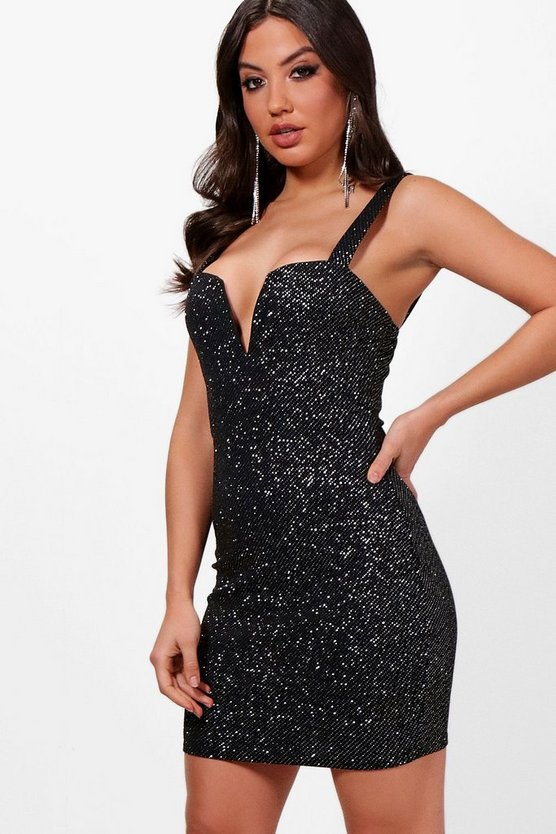 Elsa Metallic Plunge Neck bodycon Dress