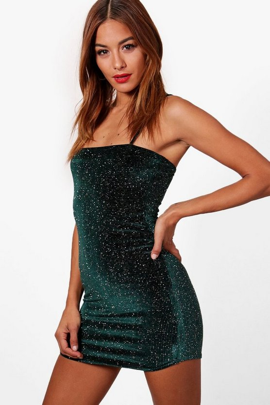 Glitter Velvet Square Neck Bodycon Dress