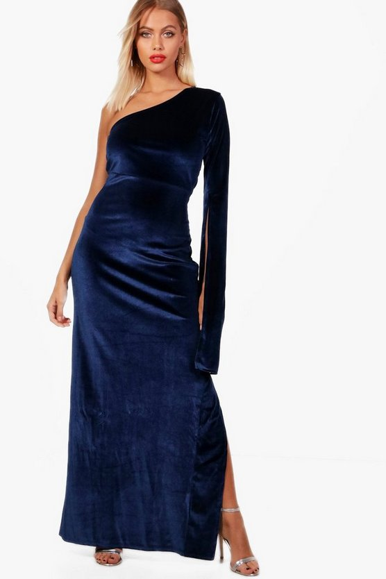Olivia Velvet One Shoulder Maxi Dress