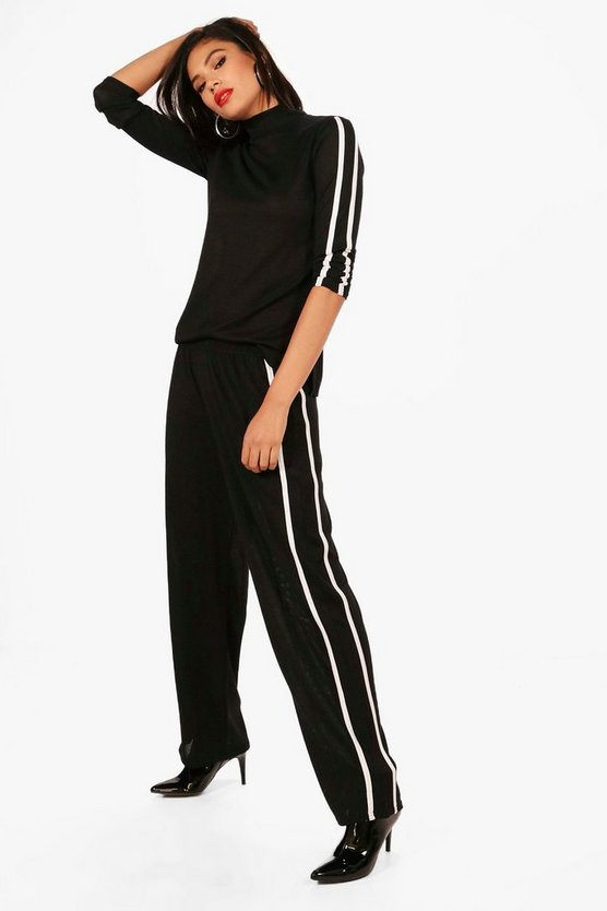 High Neck Sports Trim Knitted Set