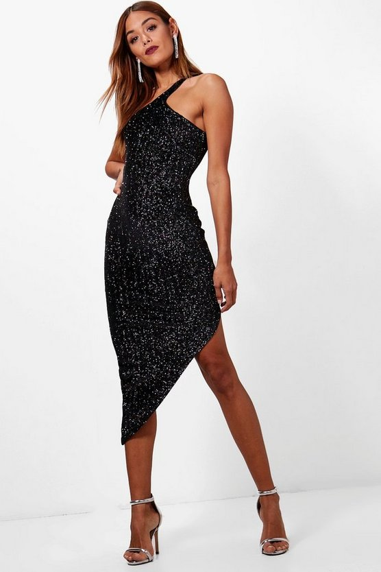 Metallic Velvet One Shoulder Midi Dress