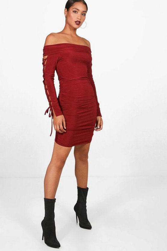 Alia Lace up Sleeve Bodycon Dress