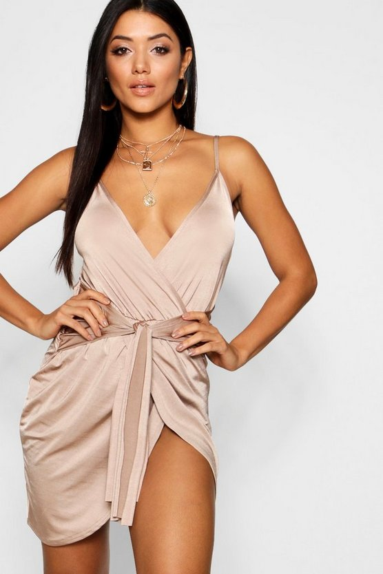 Wrap Belted Bodycon Dress
