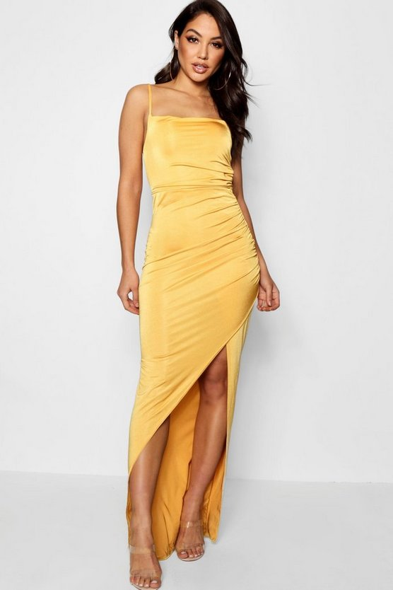 Strappy Square Neck Wrap Maxi Dress