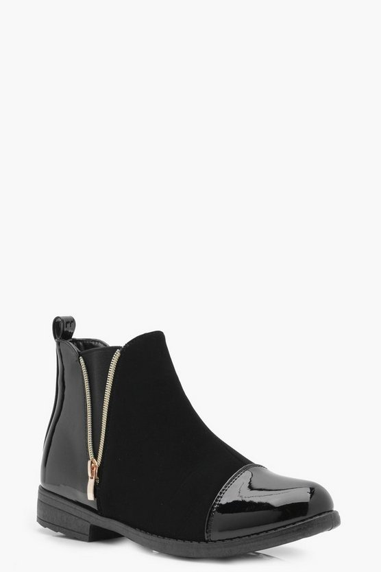 Eva Mix Material Zip Chelsea Boot
