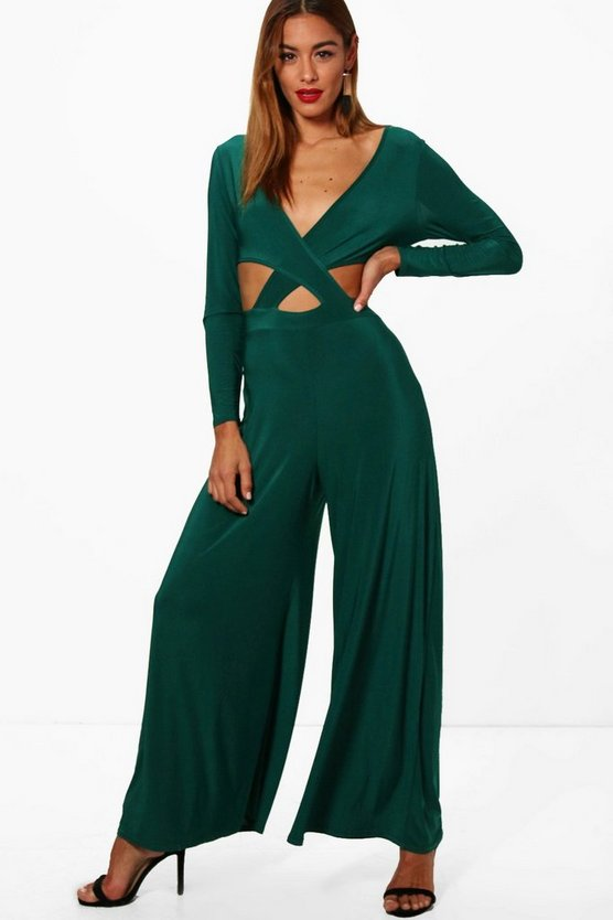 Angela Cross Front Wide Leg Slinky Jumpsuit