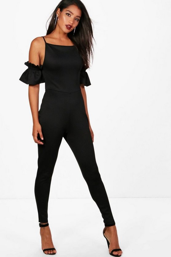 Square Neck Skinny Leg Jumpsuit