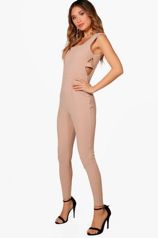 Square Neck Cut Side Skinny Leg Jumpsuit
