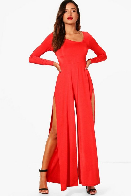 Audrey Asymetric Square Neck Split Leg Jumpsuit