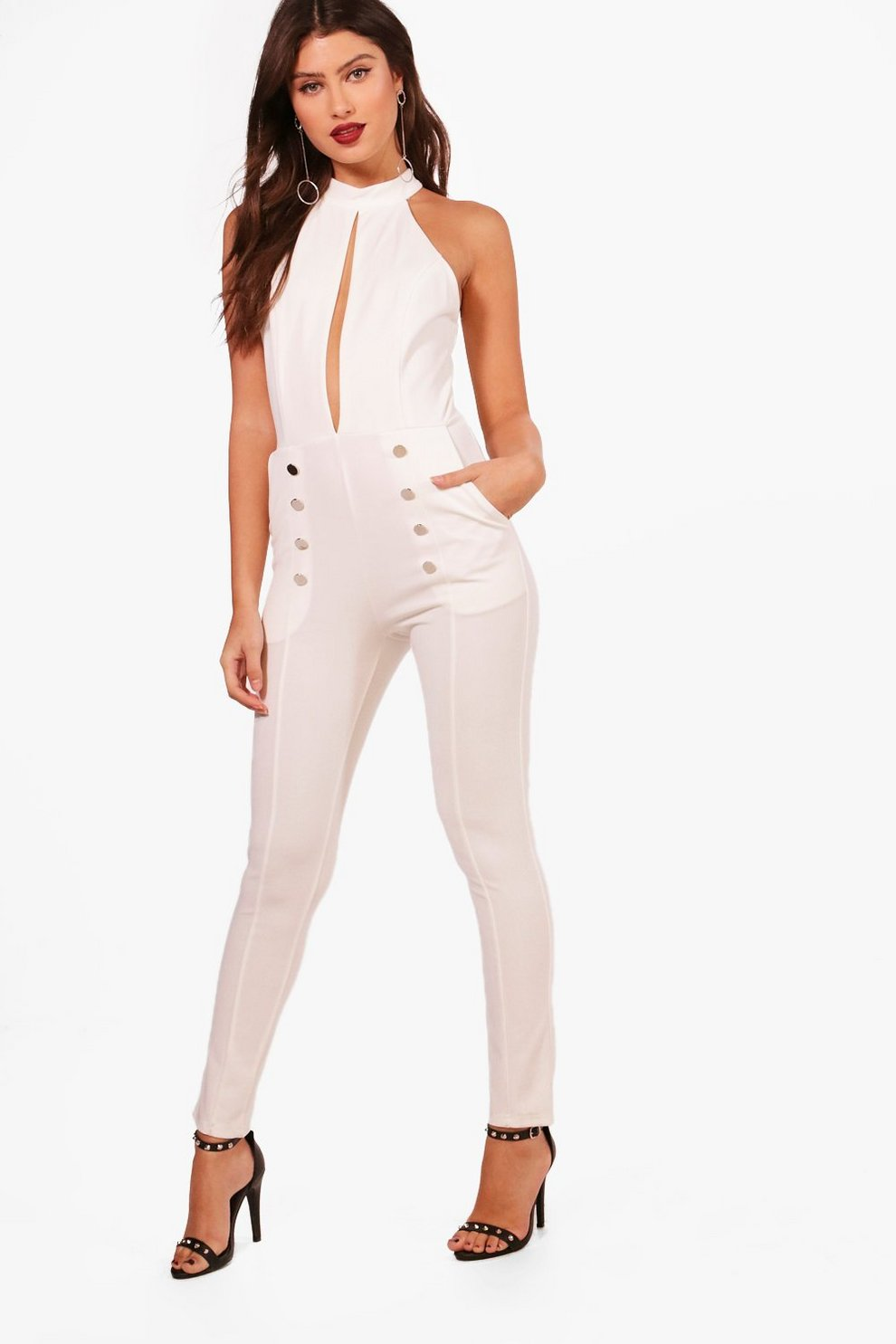 Boohoo Button Detail Halterneck Jumpsuit Free Shipping Shopping Online Clearance Online Cheap Real In China For Sale 1sc9a
