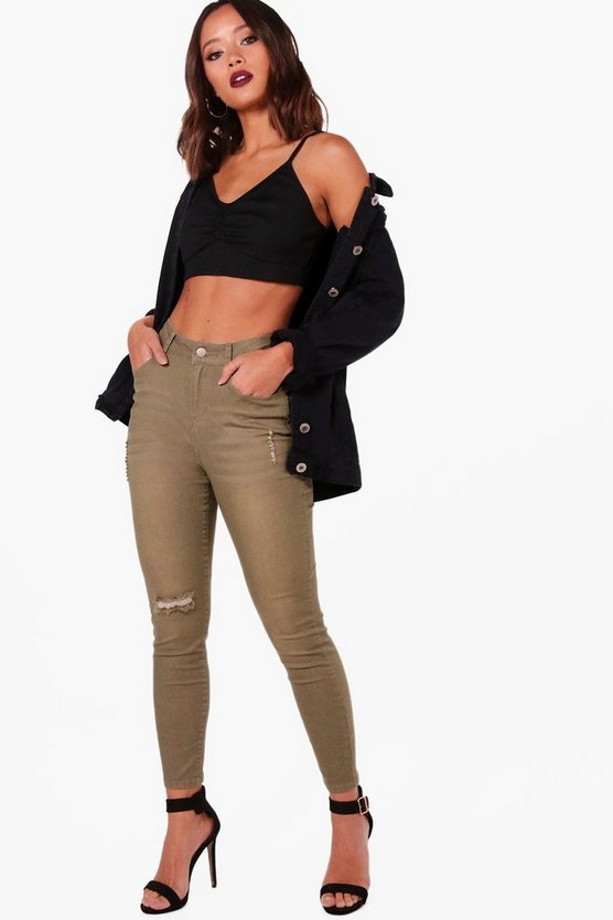 Mae Khaki High Waist 5 Pocket Skinny Jeans