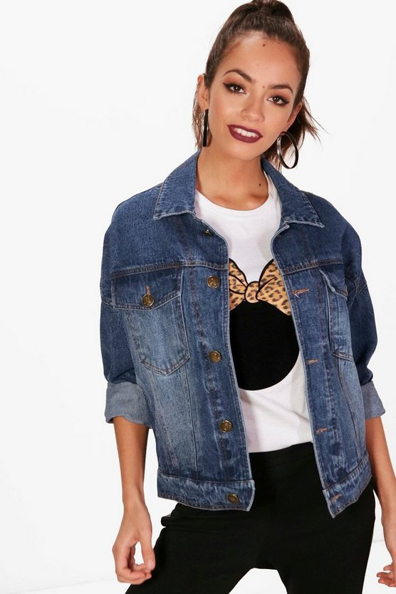 Cropped Slim Fit Batwing Denim Jacket